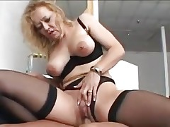 Nice blonde granny in stockings fucks a younger man video