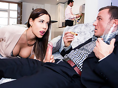Mr. Peterson always invites his employees over for dinner, whether he wants to or not, leaving the job of entertaining to his hot wife (Satin Bloom). The small talk might be awkward, but Mrs. Peterson proves to be a much better host than her asshole husband, offering Roberts (Cage) a blow job under the table. She may not speak much English, but this Euro wife can sure communicate her erotic intention to fuck behind her horrible hubby's back, taking Roberts to the couch and spreading her legs wide for his big dick. For dessert, she serves up her big juicy booty, letting him fuck her tight wet pussy until he's had his fill. Will Roberts get a raise AND a sexy slice of his boss's wife, or will he be sent packing, wishing he kept his cock in his pants? video